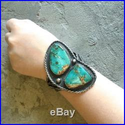 Vintage MASSIVE Museum Quality Turquoise Silver Bracelet Cuff Old Pawn Style