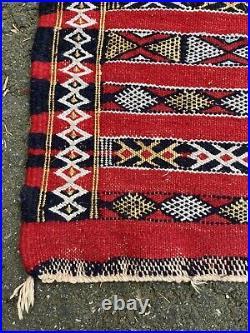 Vintage Moroccan Berber Rug Carpet Old Style Kilim Burgundy 5 x 3