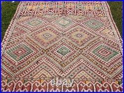 Vintage Moroccan Berber Rug -Old Style Kilim-Kilim Rug Flat Woven- 8'11''/ 5'2'