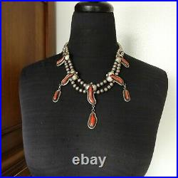 Vintage NAVAJO Sterling Silver OLD RED MED CORAL Squash Blossom Style NECKLACE