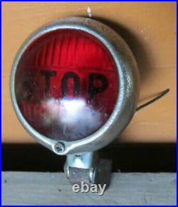 Vintage NTD 402 STOP Tail Light 3 1/4 Red Glass Chrome Rat Rod Chopper