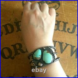 Vintage Number 8 Turquoise Silver Bracelet Cuff Old Pawn Style