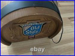 Vintage OLD STYLE BEER BARREL Hanging Pool Table Pub Light Sign
