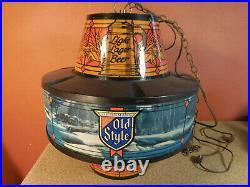 Vintage OLD STYLE Beer Hanging Revolving Motion Bar Light Sign