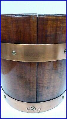 Vintage Oak Coopers Barrel Style Planter Pot Copper Bound Good Old Planter