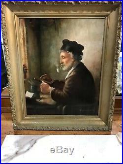 Vintage Oil Painting Signed Old school Rembrant Vermeer style dutch school