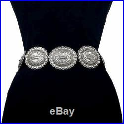 Vintage Old Pawn Native Style Hand Stamped Sterling Silver CONCHO BELT c60s/70s