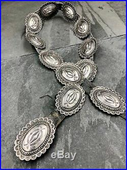 Vintage Old Pawn Style Sterling Silver Navajo Concho Belt