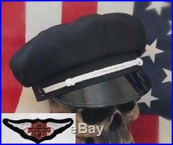 Vintage Old School Style Biker Road Captain's Hat, Bar & Shield Patch