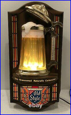 Vintage Old Style Beer Lighted Bubbler Sign Stein Mug Motion