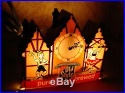 Vintage Old Style Beer Lighted Clock Chalet Advertising Sign Heilemans KCS