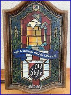 Vintage Old Style Beer Lighted Sign Faux Stained Glass Vintage Heilemans Mug