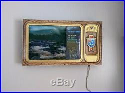Vintage Old Style Beer Motion Television River Water Beer Lighted Sign Bar TV
