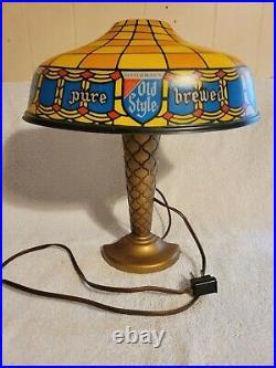 Vintage Old Style Beer Sign Plastic Lamp Iroquois Piel's Falstaff Blatz Schaefer