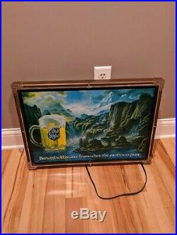 Vintage Old Style Beer Waterfall Motion Beer Scene Lighted Bar Sign 24x17 Water