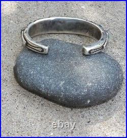 Vintage Old Style Heavy Jock Favour Ingot Silver Turquoise Row Cuff Bracelet