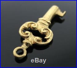 Vintage Old Style Key 14K Yellow Gold Pendant Charm