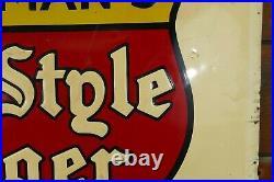 Vintage Original 1930s/1940s Heilemans Old Style Lager Beer Embossed Metal Sign