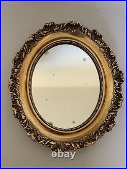 Vintage Oval Wall Mirror Florentine Style Gold Gilt Wood Sculpted Ornate Old 13