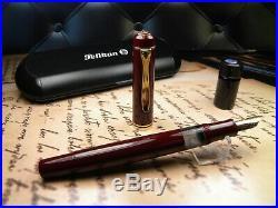 Vintage Pelikan M250 Fountain Pen-Burgundy Red-Old Style-14K Nib-Germany 1980s