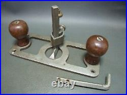 Vintage Preston style steel router plane with 2 cutters old tool