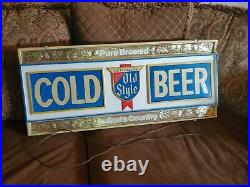 Vintage Rare Old Style Beer bar lighted sign neon display 1974 36x16x4 mancave