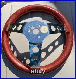 Vintage Red Metal flake custom steering wheel Hot Rod Rat Dune Buggy