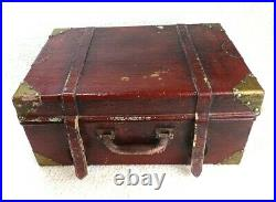 Vintage Stackable Display Suitcase Set of 3 Old Fashioned Wood Trunk Luggage