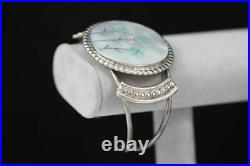 Vintage Sterling Cuff Bracelet Old Pawn Zuni Dishta Style MOP Turquoise Southwes