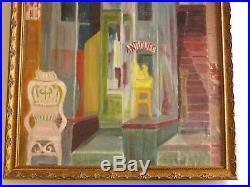 Vintage Wpa Style Painting American Urban Regionalism Antique Store Window Old