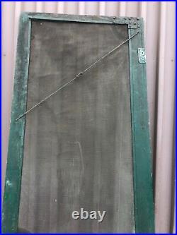 Vintage classic victorian style screen door 95 x 35 old green paint & screen