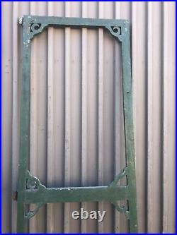 Vintage classic victorian style screen door 97 x 36 old green paint & knob