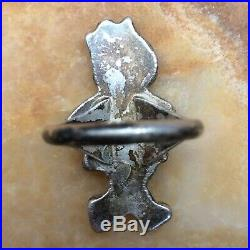 Vntg Sterling Coral Mop Turquoise Little Nancy Zuni Old Pawn Boho Style Ring Sz8