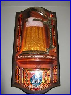 Vtg 1976 Old Style Beer Custom Bubbler Bubbling Motion Bar Light Sign Super Rare