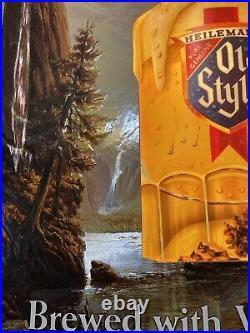 Vtg 1984 Heilemans OLD STYLE 3D LIGHTED BEER Bar Sign Gallery Style Duke17x24
