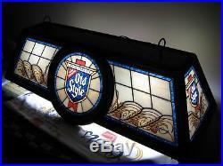 Vtg 1986 Old Style Beer Logo Poker Pool Game Table Bar Light Sign Hanging