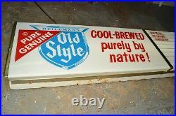 Vtg 60s Old Style Cold Beer Lighted Bar Sign Lights Advertising Tel-a-Sign 48x12