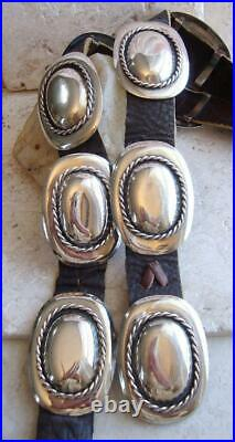 Vtg NAVAJO Old Pawn BRAIDED COLONIAL STYLE 329G Sterling Silver CONCHO BELT 41