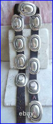 Vtg NAVAJO Old Pawn BRAIDED COLONIAL STYLE 329gr Sterling Silver CONCHO BELT 41