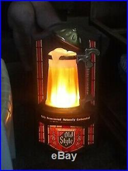 Vtg Old Style Beer Motion Bubbler Light Bar Tavern Man Cave Sign