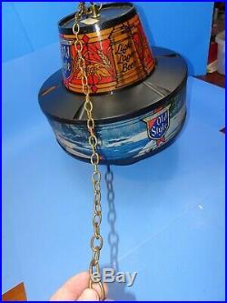 Vtg Old Style Beer Rotating Spinning Motion Hanging Light