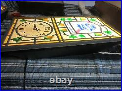 Vtg Pabst Beer Sign Rare Swag Style Stain Glass Old Clock Bar Light Pub Rec Room