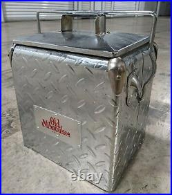 Vtg RETRO STYLE Old Milwaukee Steel Plate BEER COOLER BOTTLE OPENER MAN CAVE