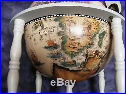 White Vintage Antique Style Old Map Desk Globe Drink Cabinet Wine Bottle Holder