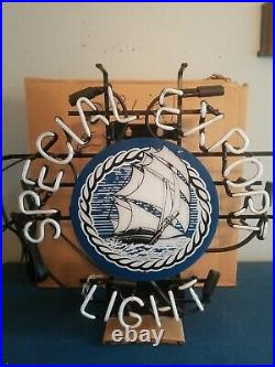 (vtg) Special Export Old Style Beer Ship & Water Neon Light Up Sign Heilemans Wi